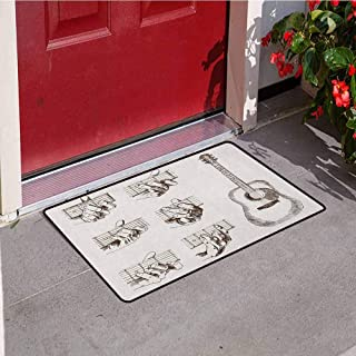 RelaxBear Guitar Universal Door mat Sketch Art Style Instrument and Chords Acoustic Flamenco Technique Skill Talent Door mat Floor Decoration W23.6 x L35.4 Inch Cream Brown