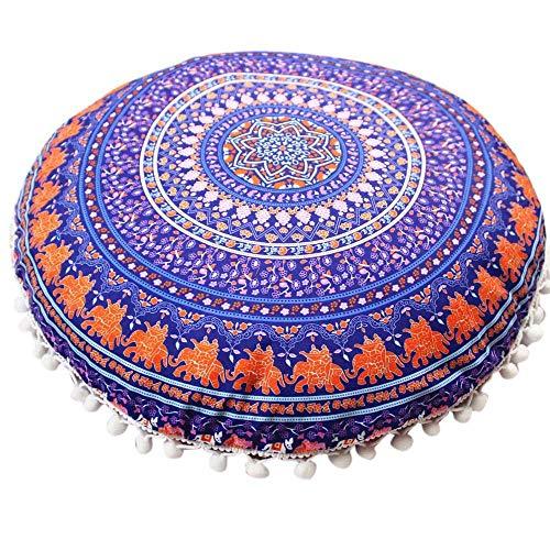 Aiserkly - Cuscino Rotondo con Mandala Indiano Etnico, Stile Bohémien, 43 x 43 cm, Poliestere, Multicolor-d, 43 * 43cm/(17.0 * 17.0')