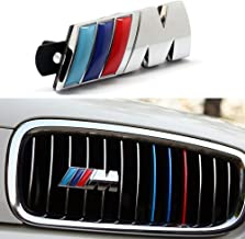 BMW M Front Grille Emblem, 3D Chrome Badge Metal Power Car Fashion Logo for BMW M M3 M5 X1 X3 X5 X6 E30 E34 E36 E39 E46 E60 E90 E92 (Silver)