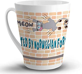 Makoroni - PROTECTED BY NORWEGIAN FOREST CAT Cat Cats - 12 Oz. Unique LATTE MUG, Coffee Cup