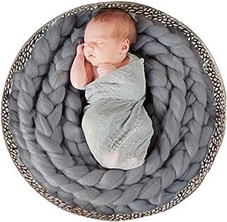 Miss Callory Newborn Photography Props Blanket Basket Braid Wool Wrap Newborn Baby Photography Props(Grey)