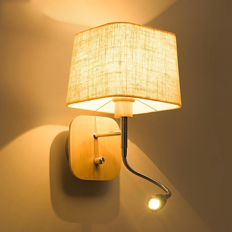 Jack Mall Schlafzimmer Nachttisch Leinen Lampe Protokolle einfache moderne nordische kreative Wand Lampe Studie Lesung Wand Lampe (Farbe   Platz)