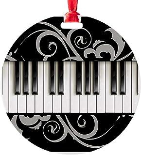 CafePress Piano Keyboard Round Christmas Ornament