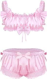 Zaldita Men's Ruffled Lace Trim Sissy Crossdressing Satin Pajamas Set Lingerie Briefs Underwear