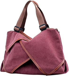FENICAL Tote Bag Canvas Shoulder Handbag Large Stitching Work Tote for Women Lady (Purple)