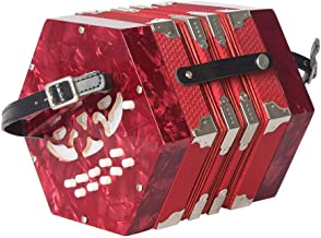 MeterMall 20-Button Concertina with Carrying Bag Adult Primary Professional Playing Hexagon Accordion red