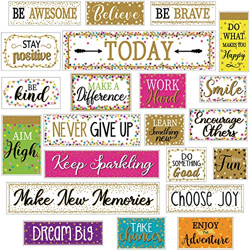 Home Classroom Sweet Motivational Gallery Signs, Confetti and Shine Bulletin Board Motivation Cards with Glue Point Dots for Bulletin Board Classroom School Office Home Nursery Decoration