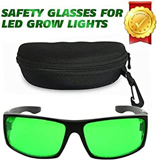 Derlights Indoor Grow Light Glasses, Growing Hydroponics LED Grow Room Safety Glasses with Anti UV & Color Correction, Protective Goggles for Intense LED Lighting Visual in Greenhouse