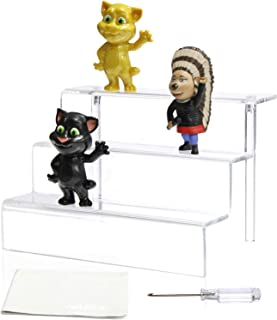 NIUBEE Acrylic Riser Display Stand Shelf for Amiibo Funko Pop Figure, 3 Steps Acrylic Display for Decoration and Organizer-Large, 3-Tier, Clear(12x8.5 inch)
