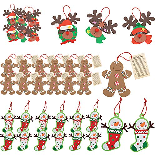 Favonir Christmas Ornament Foam Craft Assortment 36 Pc Novelty Set - Reindeer - Legend of The Gingerbread Man – Snowman Stocking - Self Adhesive Art and Crafts for Kids Holiday Decorations