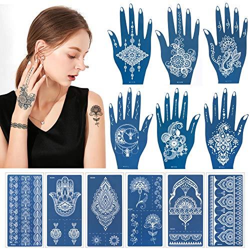 HOWAF 12 Blatt Henna Tattoo Schablonen für Hände Körper Bemalung, Mehandi Schablonen Tattoo Airbrush Tattoo Schablonen Temporäres Tätowierung Templates für Frauen Mädchen Halloween Make-up