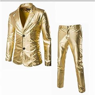 neveraway Men Metallic Clubwear Two Piece Suit Jackets Suit