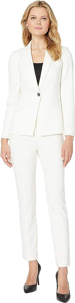 Bi-Stretch Pants Suit with Hardware Trim