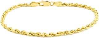 14k Yellow Gold Solid 3mm Diamond Cut Rope Chain Bracelet, 7