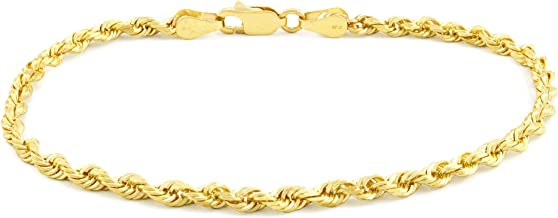 14k Yellow Gold Solid 3mm Diamond Cut Rope Chain Bracelet, 7