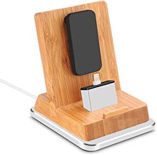 Rerii Bamboo Charge Stand with Aluminum Base, iPhone Charging Dock, iPhone Charger, Stand for iPhone 8/7 / 6 Plus, iPhone Xs, iPhone XR, iPhone 5S, iPad Air, iPad Mini, Support Charging with Case