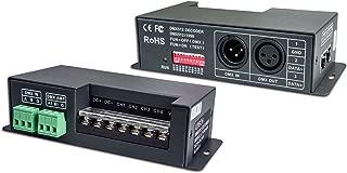 LEDENET 4CH x 6A DMX-PWM CV Decoder Constant Voltage Driver Convert DMX512 Digital Signal to PWM Signal Controller Equipped with DMC Standard XRL-3, RJ45, Green Teminal Interface