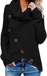 Womens Long Sleeve Button Cowl Neck Knitted Wrap Pullover Lightweight Coat