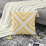 CAROMIO Funda de Cojín Boho Chenilla Throw Pillow Borla Tufted Cojines de Sofá Súper Suaves para Sofá Dormitorio Sala de Estar Coche Oficina 1 Pieza 45 x 45 cm 18 x 18 Pulgadas Amarillo