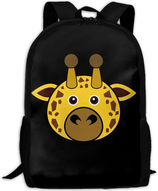 Giraffe Face Adult Backpack College Daypack Oxford Bag Unisex Business Travel Sports Bag