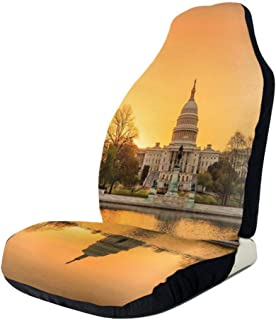 GULTMEE Car Front Seat Covers Vehicle Protector Mat Covers,Washington DC American Capital City White House Above The Lake Landscape,Fit Most Cars,Sedan,Truck,SUV