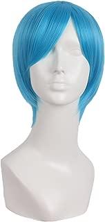 MapofBeauty 10 Inch/25cm Fashion Men's Side Bnags Short Straight Synthetic Wig (Cyan Blue)