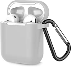Airpods Case, Coffea AirPods Accessories Shockproof Case Cover Portable & Protective Silicone Skin Cover Case for Airpods 2 & 1 (Front LED Not Visible) - Gray