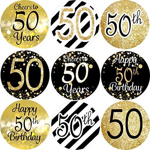 Outus 432 Piezas de 50 Pegatinas de Cumpleaños 50 Etiquetas de Aniversario 50 y 50 Pegatinas Redondas de Caramelo Negro y Dorado Saludos a 50 Etiquetas para Fiesta de 50 Cumpleaños