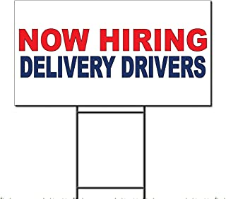 Fastasticdeals Now Hiring Delivery Drivers Red Blue Corrugated Plastic Yard Sign/Free Stakes 18 x 24 inches Two Sides Color