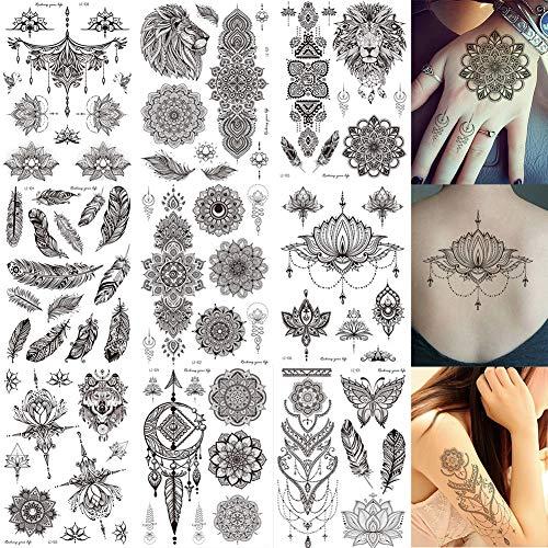 Black Mandala Henna Temporary Tattoos Fake Tattoos Body Art Sticker For Women Girls Teens, 9 Sheets Waterproof Sexy Tattoo Flower Feather Stickers Kit for Party Wedding Beach Birthday (ZJH001)