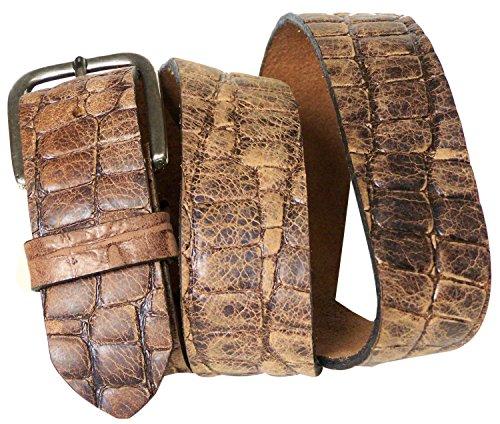 FRONHOFER Krokodilleder Gürtel 4 cm mit rechteckiger Gürtelschnalle, Kroko Gürtel, Druckknopf, Wechselgürtel, Größe:Körperumfang 100 cm = Gesamtlänge 115 cm, Farbe:Braun