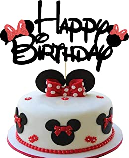 Minnie Happy Birthday Cake Topper with Bow Tie Glitter Mouse First Birthday Two Three Four Five Six Years Old Birthday Mou...