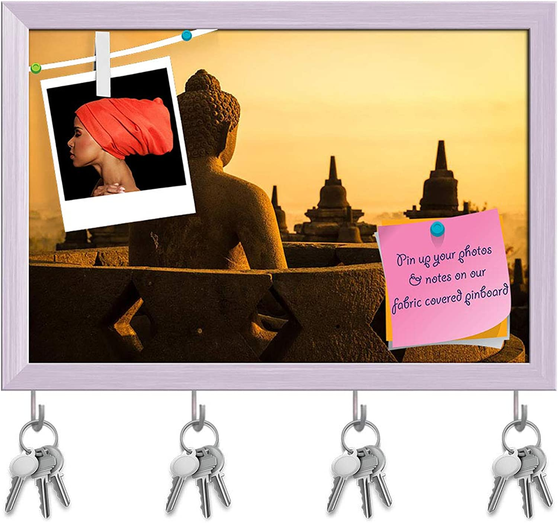 Artzfolio 9Th Century Buddha in Temple Jogjakarta, Indonesia Key Holder Hooks   Notice Pin Board   White Frame 17.5 X 12Inch