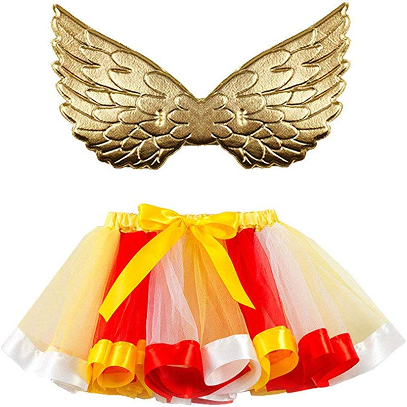 Jin Co Toddler Tutu Dress Tulle Prom Party Dress Bowknot Ballet Skirt Wing Outfits Set Carnival Dress Up