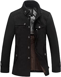 chouyatou Men's Stand Collar Wool Blend Single Breasted Pea Coat with Fleece Lined