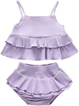 Newborn Infant Toddler Baby Girls Shorts Set 2Pcs Solid Clothes Halter Tank Vest Tops+Ruffle Pants Summer Outfits