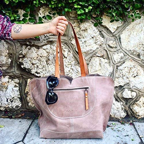 Beige Handmade Leather Tote Shoulder Real use Free shipping / New for Bag Max 69% OFF everyday