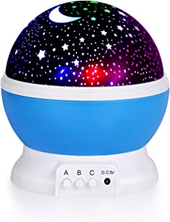 2019 Children's Star Night Light, 360-degree Rotating Star Projector, Table lamp 4 LEDs, 8 Colors can be Changed by USB Ca...