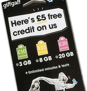 GiffGaff 英国 PAYG SIMカード イギリスとヨーロッパを訪れる 5 ボーナス付き 米国内でアクティベート 無制限のSMS/通話と12GB データ