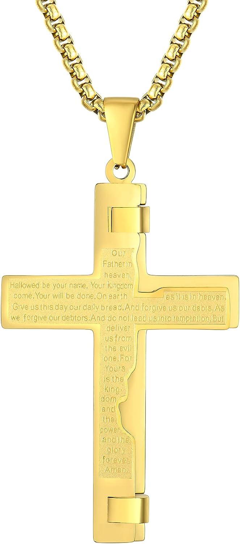 Starchenie Cross Necklace for Women Men Stainless Steel Bible Verse Pendant Jesus Jewelry 24'' Rolo Chain