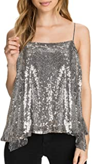HaoDuoYi Womens Sparkly Sequin Spaghetti Strap Crop Top