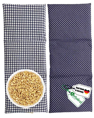 HERBALIND 3-Kammer 4071 Körnerkissen Mikrowelle Wärmekissen - Getreide Nackenkissen 50x20 cm in Grau karo - 100% Baumwolle OEKO TEX Körnerkissen