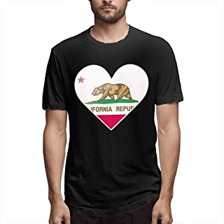 BYSKA Men's Personalized Casual Heat with Flag of California Short Sleeve Cool T-Shirt Black