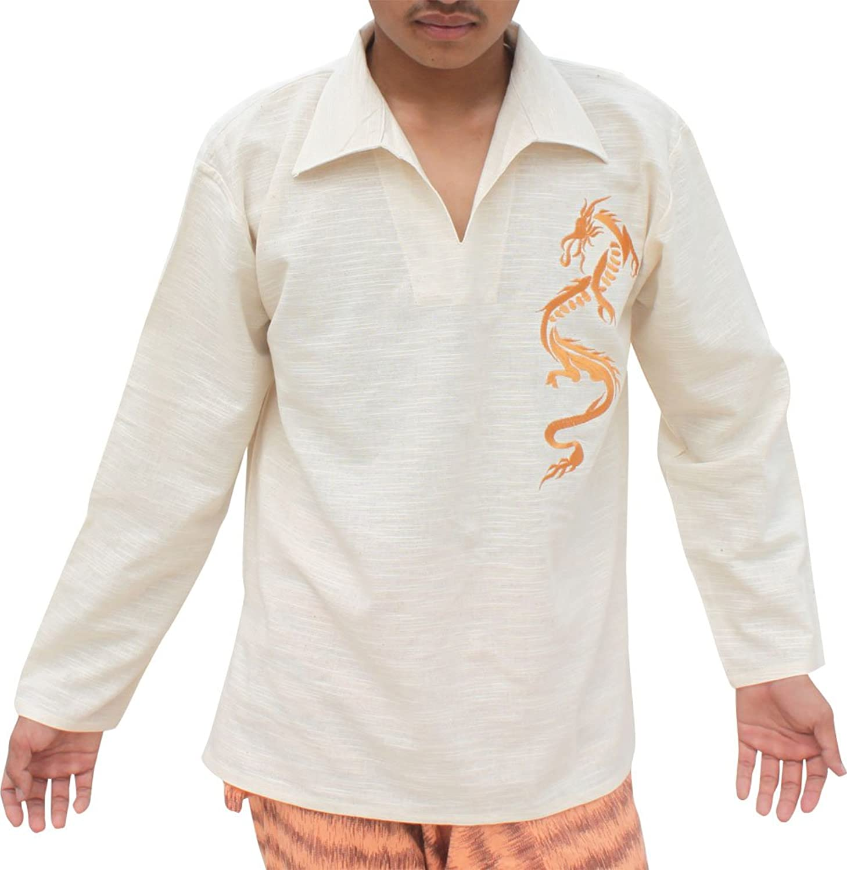 Raan Pah Muang RaanPahMuang Cotton Poets Collar Shirt with gold Long Dragon Embroidery