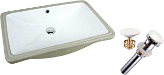KINGSMAN Rectrangle Undermount Vitreous Ceramic Lavatory Vanity Bathroom Sink Pure White (24 Inch with Pop-up Drain)