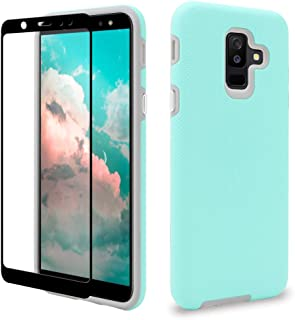Samsung Galaxy A6 Plus Case with Tempered Glass Screen Protector, ipush Anti-Slip Full Protective Durable Case for Samsung A6 Plus 2018 (Mint)