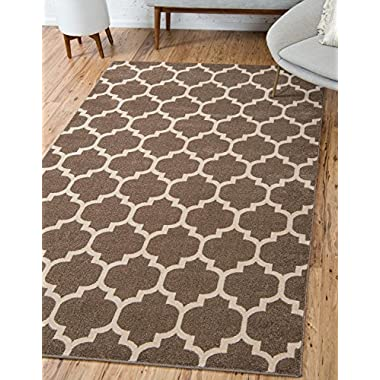 Unique Loom Trellis Collection Moroccan Lattice Light Brown Area Rug (7' x 10')