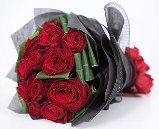 ダーズンローズ 大輪赤バラ花束 12本 プロポーズ ラメ無料 結婚式 結婚記念日 薔薇12本 サプライズ プロポーズ ダーズン レッド 国産 大輪 赤ばら(ラメ無し) バレンタイン