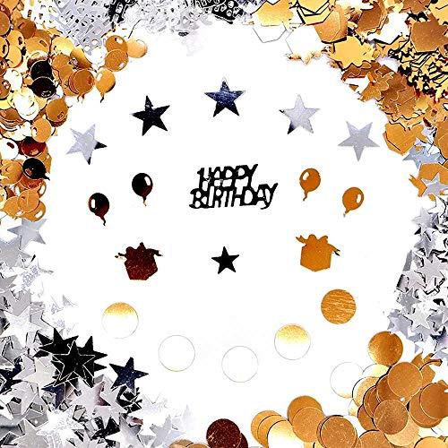 Okaytec Streudeko Geburtstag Geburtstagstisch Konfetti - Geburtstagsdeko Gold Tisch deko Ballons Sterne Happy Birthday mit Punkten Tischdeko (Stil Gold & Silber - über 1100 Stück)