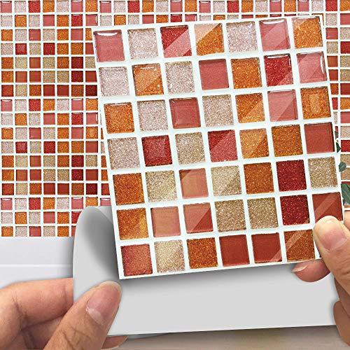 Azulejos Adhesivos Baño Cocina Rojo Ladrillo 10 Vinilos Cocina Azulejos Vinilos Para Baños Losetas Vinilo para Paredes Suelo Vinilo Autoadhesivo para Cocina